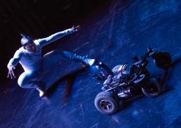"Sandro Masai improvising with ""Dyna"" robot. Photo: Barnabás Várszegi"